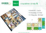 {0969.142.990} Bán gấp căn 02 DT=106.26 m2, 3PN tòa CT4 CC Eco Green Nguyễn Xiển BC ĐN, 24.5tr/m2
