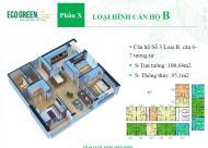 Bán gấp căn 03 DT=95.01 m2, 3PN tòa CT4 CC Eco Green Nguyễn Xiển. Ban công ĐN, giá 24.5tr/m2
